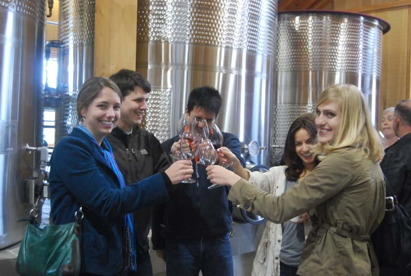 A toast in the Fermentation Barn