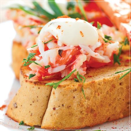 Crab Salad on Brioche with Blood Orange and Pickled Hedgehog Mushrooms